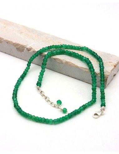 Collier agate verte pierres taillées et argent
