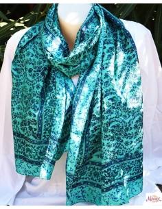 Foulard fin en soie turquoise et bleu fleuri - Mosaik bijoux indiens