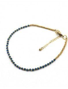 Chaîne de pied dorée et bleue - Mosaik bijoux indiens