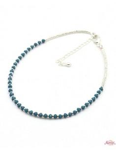 Chaîne de pied argentée et perles bleues