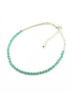 Chaîne de pied fine argentée et perles turquoises