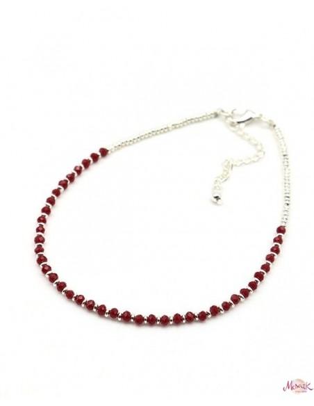 Chaîne de pied argentée et perles rouge