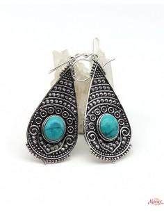 Boucles d'oreilles pendantes indiennes et turquoise - Mosaik bijoux indiens