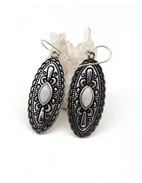 Boucles d'oreilles pendantes ethniques et pierre de lune - Mosaik bijoux indiens