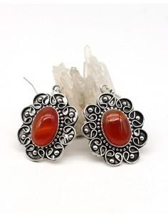 Boucles d'oreilles ethniques et cornaline - Mosaik bijoux indiens