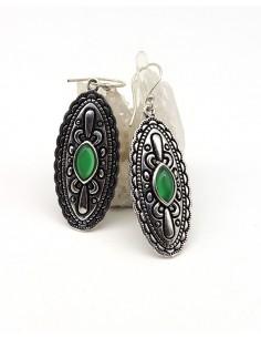 Boucles d'oreilles ethniques et agate verte - Mosaik bijoux indiens