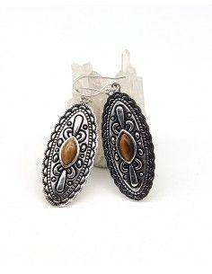 Boucles d'oreilles pendantes indiennes et oeil de tigre - Mosaik bijoux indiens