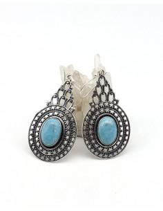 Boucles d'oreilles argentées et pierre bleue - Mosaik bijoux indiens