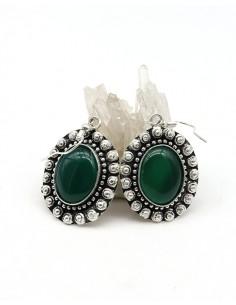 Boucles d'oreilles fleurs et agate verte ovales - Mosaik bijoux indiens