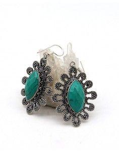 Grosse boucles d'oreilles argentées fleurs et turquoise