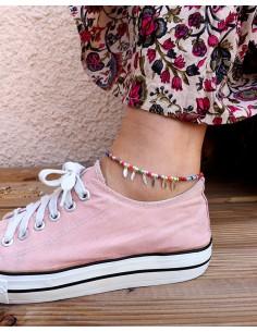 Chaîne de pied multicolore argentée à pampilles 2