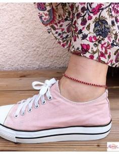 Chaîne de pied argentée et perles rouge 2