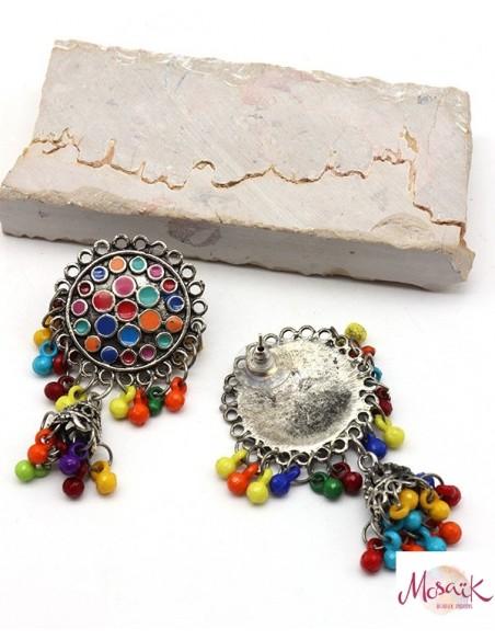 Clous d'oreilles ethniques colorés à grelots - Mosaik bijoux indiens