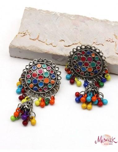 Boucles d'oreilles ethniques colorées - Mosaik bijoux indiens