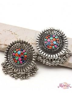 Clous d'oreilles indiens à grelots - Mosaik bijoux indiens