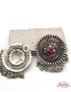 Clous d'oreilles indiens à grelots - Mosaik bijoux indiens 2