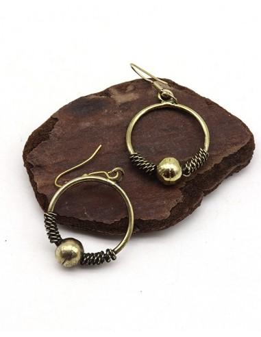 Petites boucles d'oreilles dorées rondes - Mosaik bijoux indiens