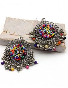 Boucles d'oreilles à perles et grelots ethniques - Mosaik bijoux indiens