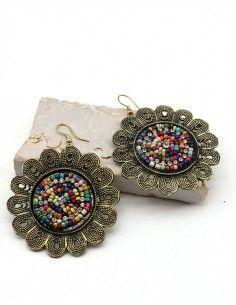 Boucles d'oreilles grosse fleur indienne - Mosaik bijoux indiens