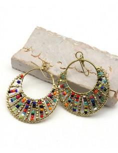 Boucles d'oreilles colorées en perles - Mosaik bijoux indiens