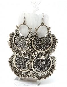Boucles d'oreilles ethniques travaillées indiennes - Mosaik bijoux indiens