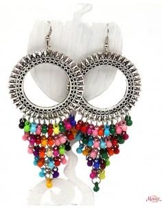Boucles d'oreilles ethniques à pampilles colorées - Mosaik bijoux indiens