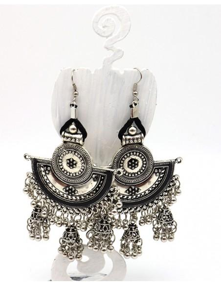 Boucles d'oreilles ethniques argent mât - Mosaik bijoux indiens