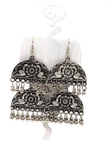 Boucles d'oreilles ethniques à pampilles - Mosaik bijoux indiens