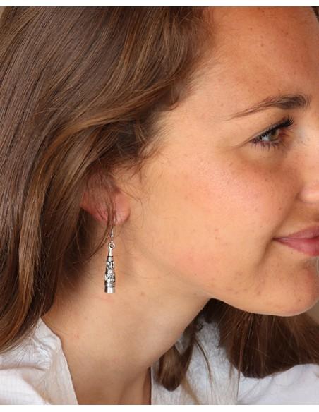 Boucles d'oreilles cône travaillées - Mosaik bijoux indiens