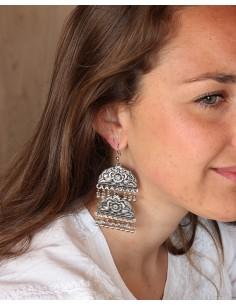 Boucles d'oreilles ethniques à pampilles - Mosaik bijoux indiens 2