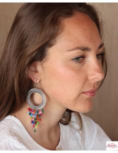 Boucles d'oreilles ethniques à pampilles colorées - Mosaik bijoux indiens 2