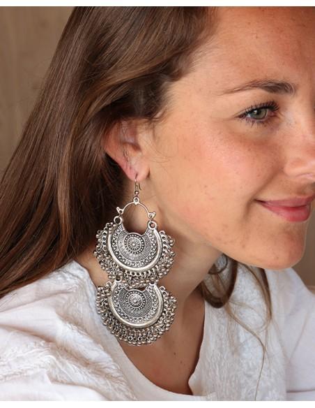 Grosse boucles d'oreilles ethniques argentées - Mosaik bijoux indiens