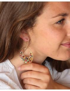 Boucles d'oreilles colorées en perles - Mosaik bijoux indiens 2