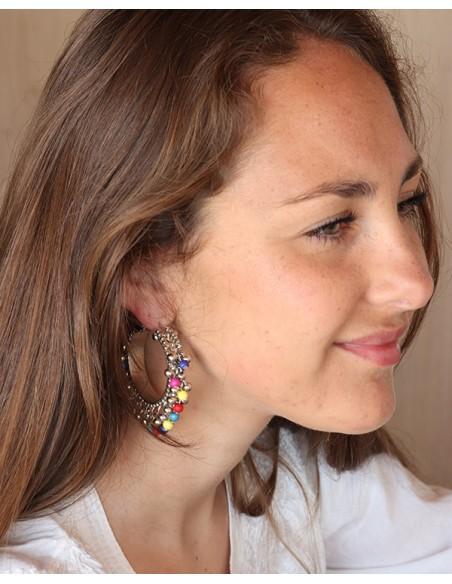 Créoles argentées et perles colorées - Mosaik bijoux indiens