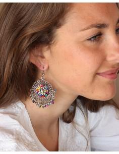 Boucles d'oreilles à perles et grelots ethniques - Mosaik bijoux indiens 2