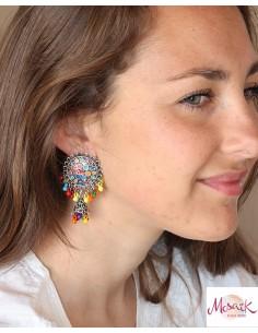 Boucles d'oreilles ethniques colorées - Mosaik bijoux indiens 2