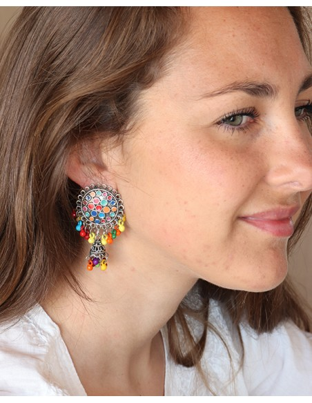 Clous d'oreilles colorées en perles - Mosaik bijoux indiens