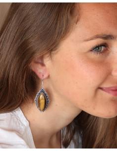 Boucles d'oreilles ethniques argentées et oeil de tigre 2