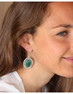 Boucles d'oreilles fleurs et agate verte ovales - Mosaik bijoux indiens 2