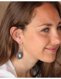 Boucles d'oreilles argentées et pierre bleue - Mosaik bijoux indiens 2