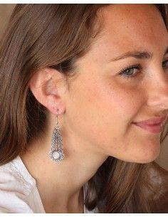 Boucles d'oreilles pendantes ethniques et pierre de lune - Mosaik bijoux indiens 2