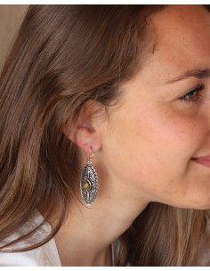 Boucles d'oreilles pendantes indiennes et oeil de tigre - Mosaik bijoux indiens 2