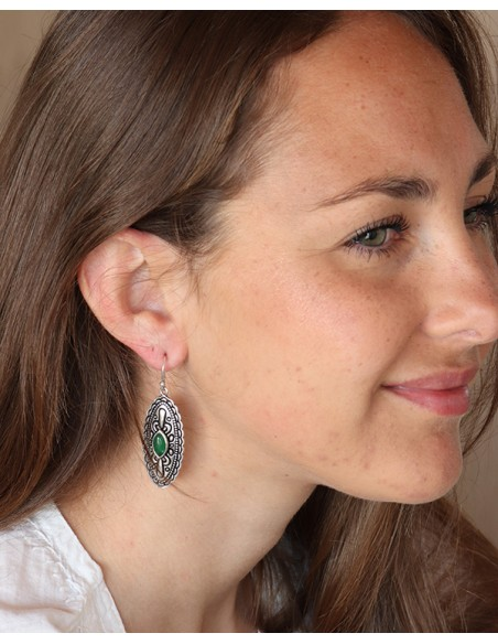 Boucles d'oreilles argentées et agate verte - Mosaik bijoux indiens