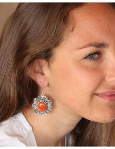 Boucles d'oreilles ethniques et cornaline - Mosaik bijoux indiens 2