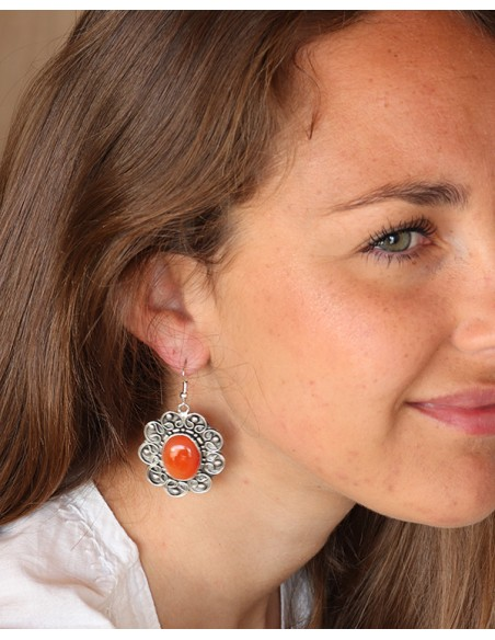 Boucles d'oreilles fleurs ethniques et cornaline - Mosaik bijoux indiens