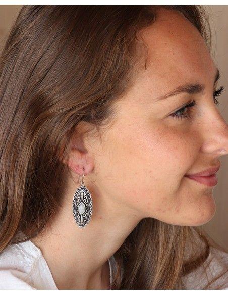 Boucles d'oreilles ethniques et pierre de lune - Mosaik bijoux indiens