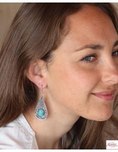 Boucles d'oreilles pendantes indiennes et turquoise - Mosaik bijoux indiens 2