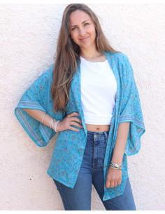 Kimono bleu turquoise à fleurs - Mosaik bijoux indiens