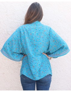 Kimono bleu turquoise à fleurs - Mosaik bijoux indiens 2