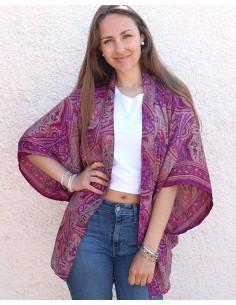 Kimono en soie violet motifs cachemire - Mosaik bijoux indiens